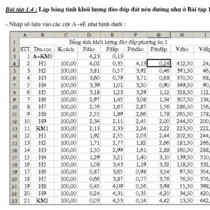 Giáo trình Excel trong Tính Toán Giao Thông, Hạ Tầng